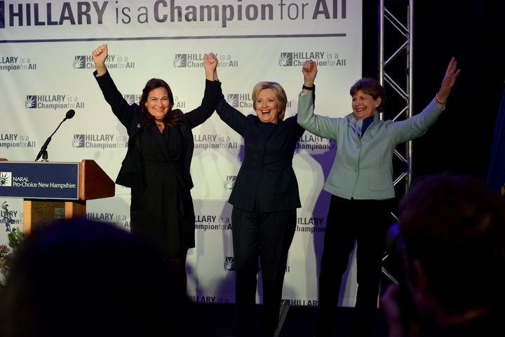Ilyse Hogue, left, appeared with Hillary Clinton and Sen. Jeanne Shaheen (D-NH) at a NARAL event in January.