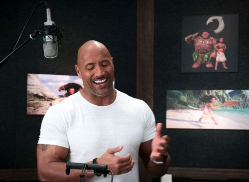 "Dwayne Johnson records dialogue for the character he's voicing in Disney's ""Moana."""