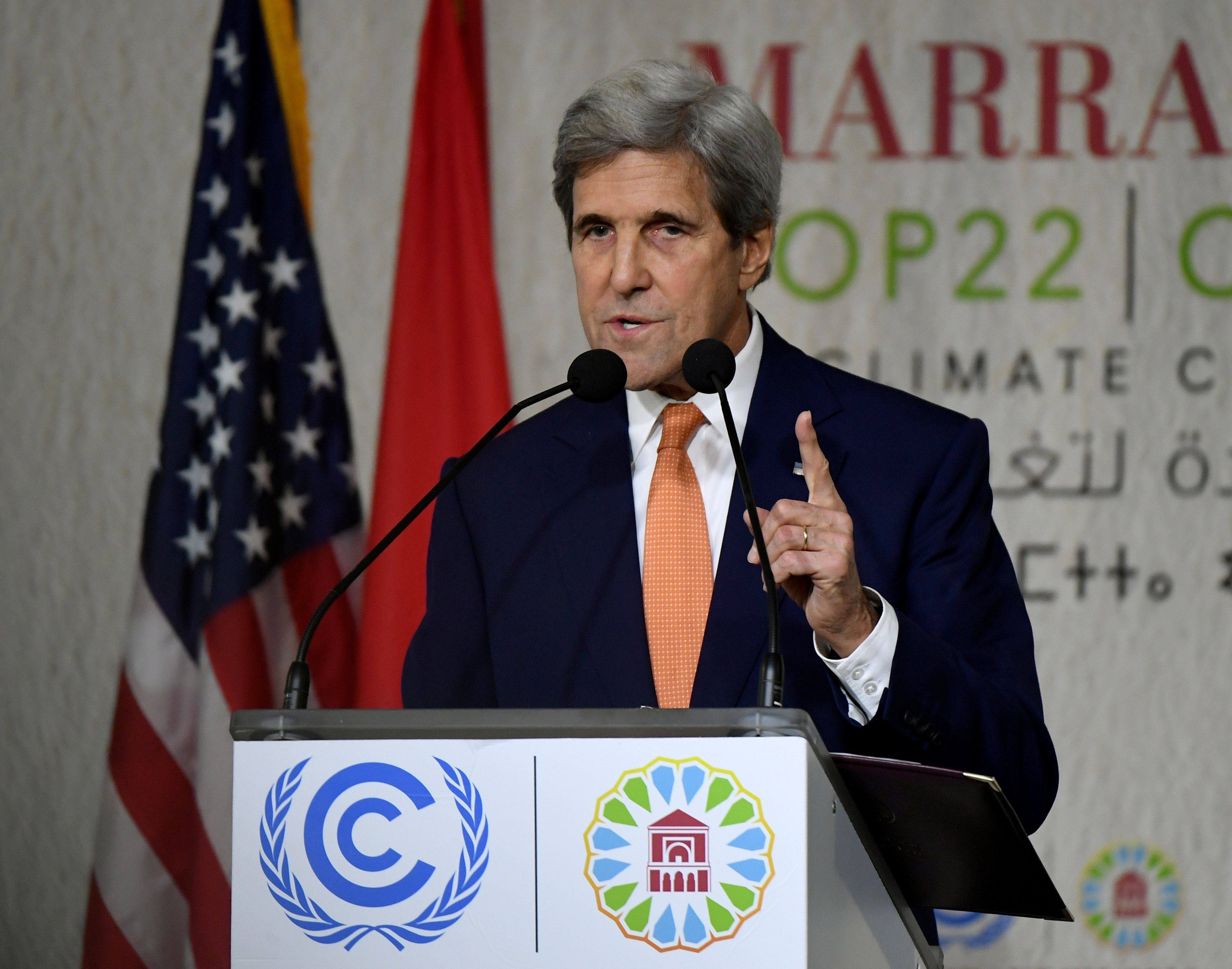 "Secretary of State John Kerry, at a U.N. climate change conference in Morocco on Wednesday, says that ""our success is not goi"