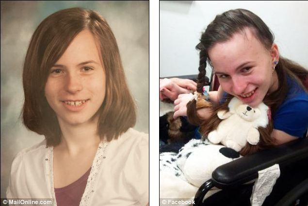 Speedy deterioration: Justina Pelletier pictured left in 2012, before going to Boston Children's Hospital, and right, during