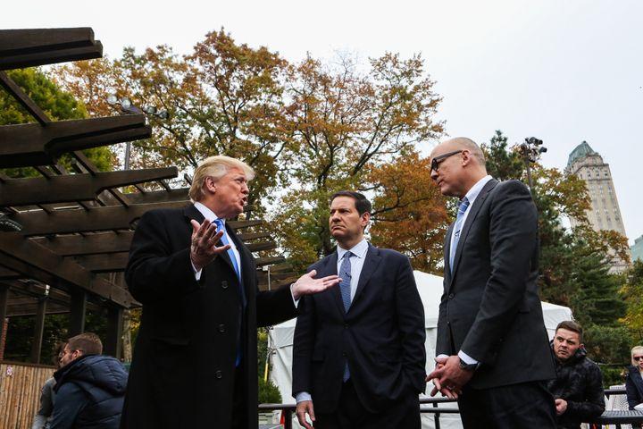 Donald Trump speaks with Mark Halperin (center) and John Heilemann during a Bloomberg TV interview on Nov. 2, 2015.