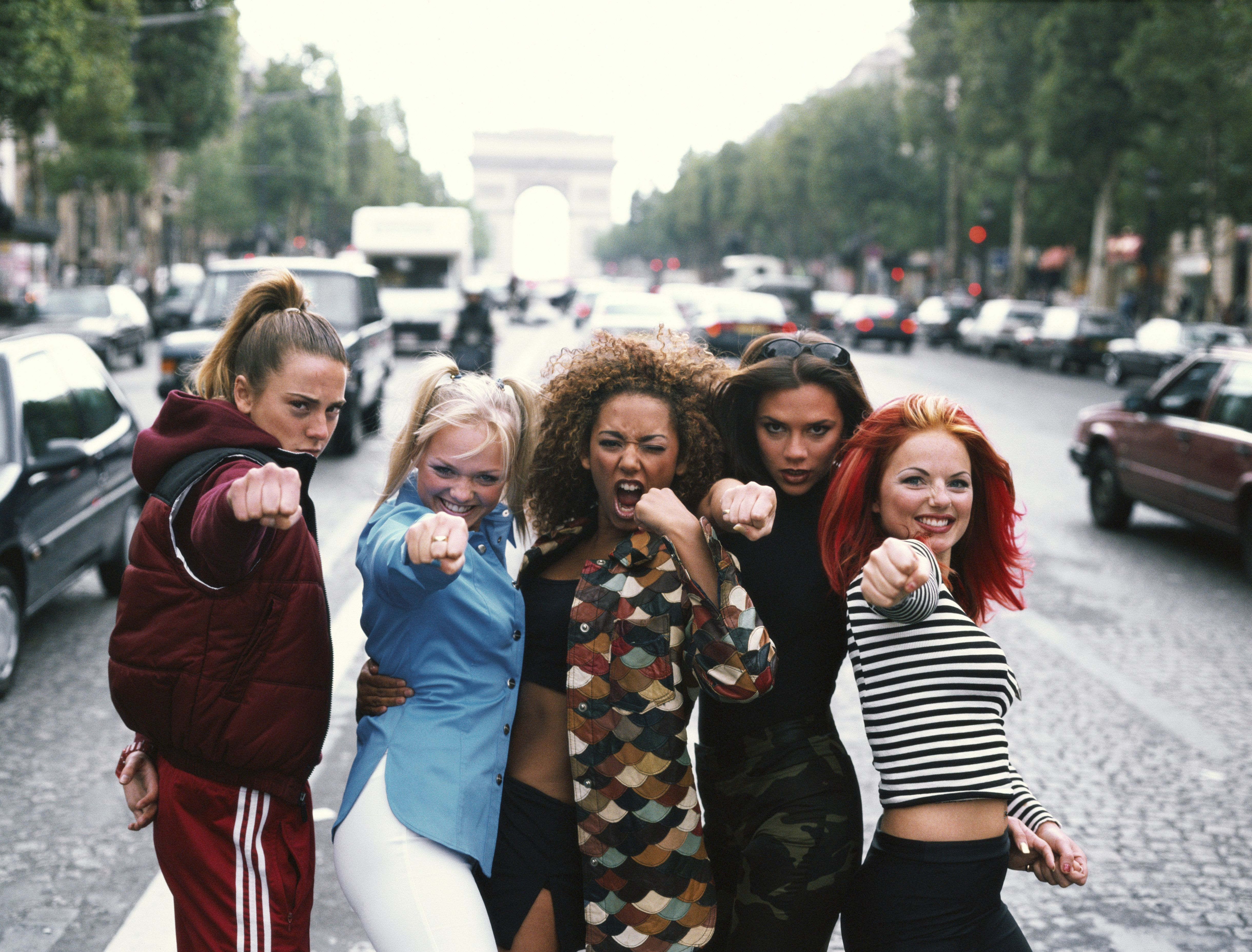 English pop group The Spice Girls, Paris, September 1996. Left to right: Melanie Chisholm, Emma Bunton, Melanie Brown, Victoria Beckham and Geri Halliwell aka Sporty, Baby, Scary, Posh and Ginger Spice. (Photo by Tim Roney/Getty Images)