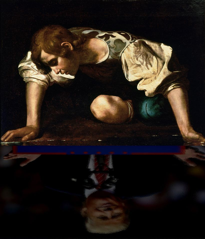 Caravaggio's Narcissus Meets Donald J. Trump.