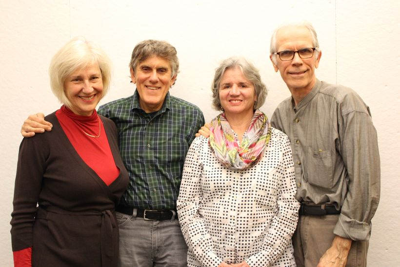 "Creative Team of ""Bone on Bone."" From L to R: Stephanie Musnick  Karpell (Linda), Mike Folie (Jonathan), Playwright Marylou D"