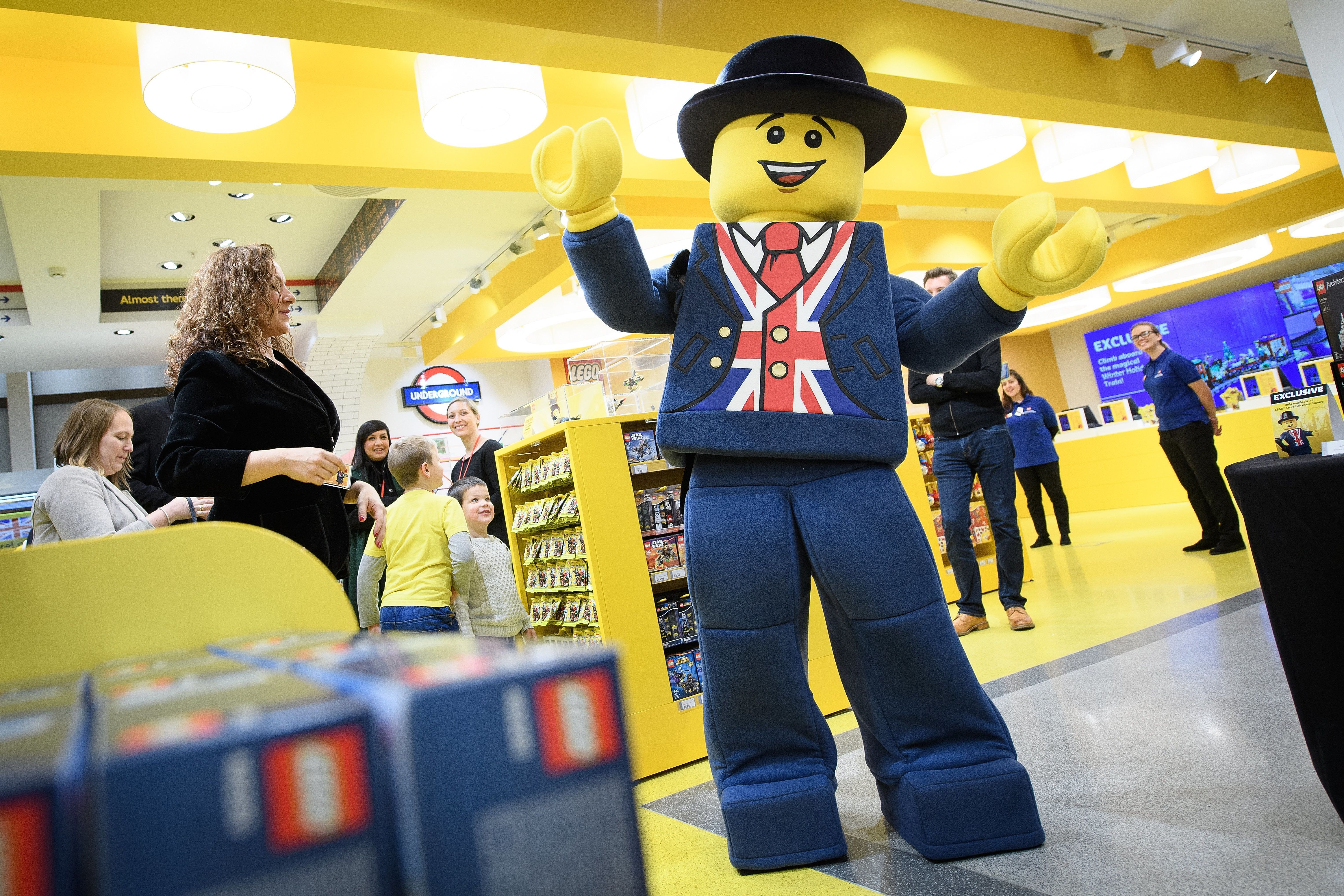 LONDON, ENGLAND - NOVEMBER 16: 'Lester', the London Lego mascot, is seen during an opening party event at the new flagship Lego store on November 16, 2016 in London, England. The new landmark store is be the biggest Lego Brand Retail Store in the world, the 37th LEGO store in Europe and covers 914 sq metre total area, over two floors. (Photo by Leon Neal/Getty Images)