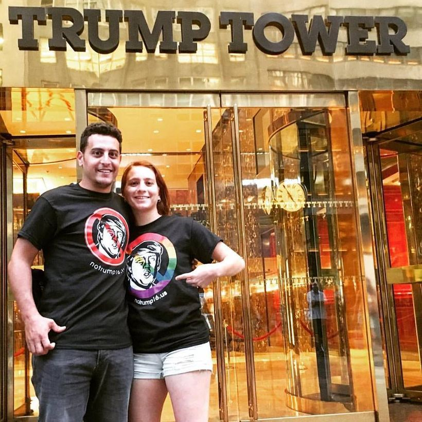A young couple from Israel stand in front of Trump Tower, the president-elect's home, office, and campaign HQ.