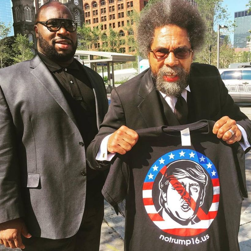Professor Cornel West displays his identification with the anti-Trump movement in downtown Cleveland, OH.