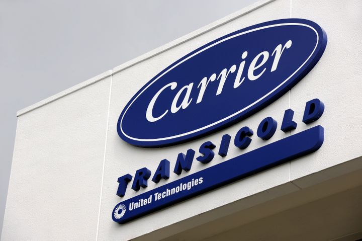 The logo of Carrier Transicold, a unit of United Technologies Ltd., is displayed outside the company's production plant in Si