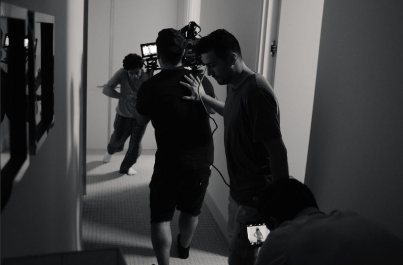 Behind the scenes of the music video shoot.