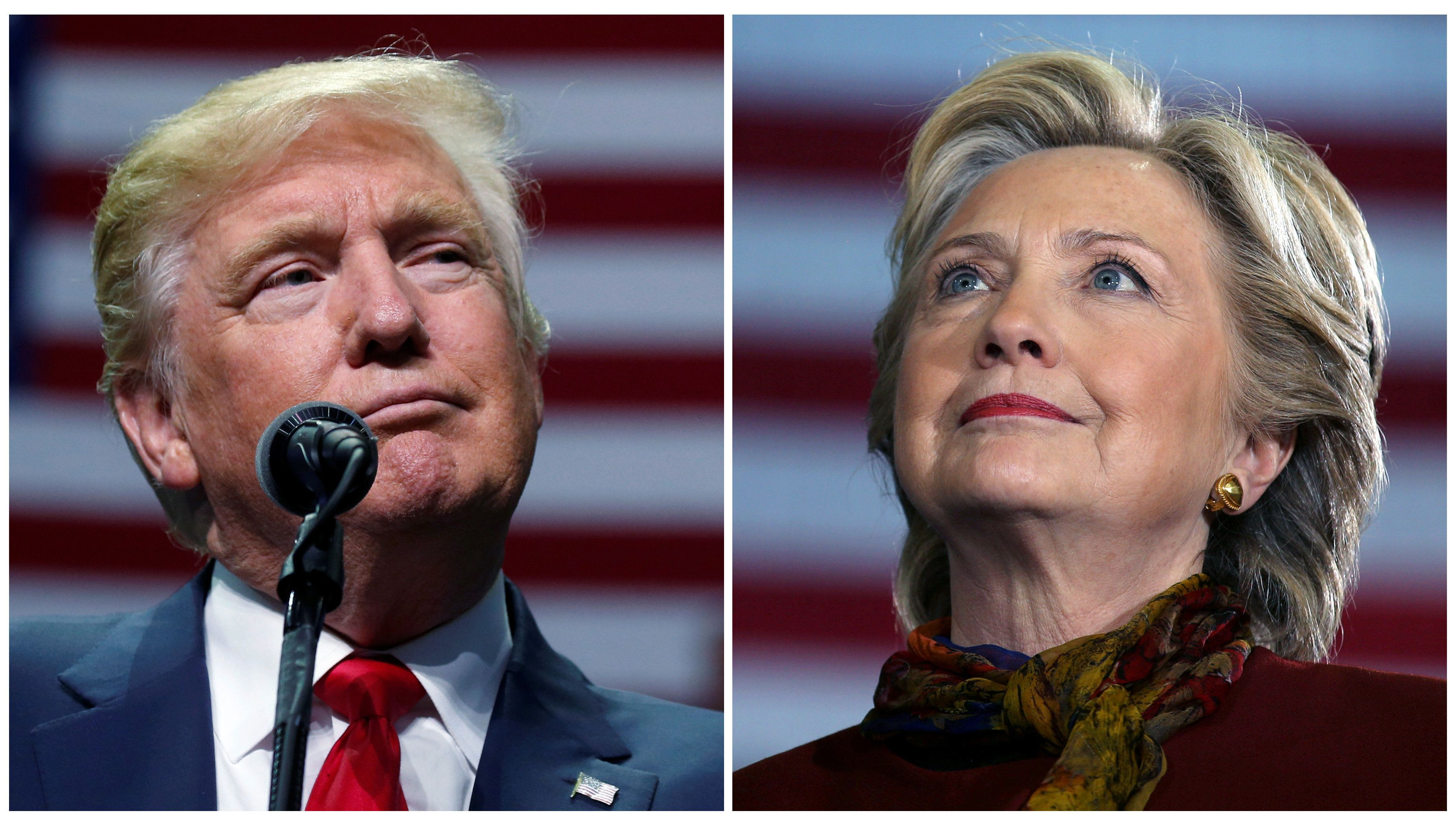 U.S. presidential candidates Donald Trump and Hillary Clinton attend campaign events in Hershey, Pennsylvania, November 4, 20