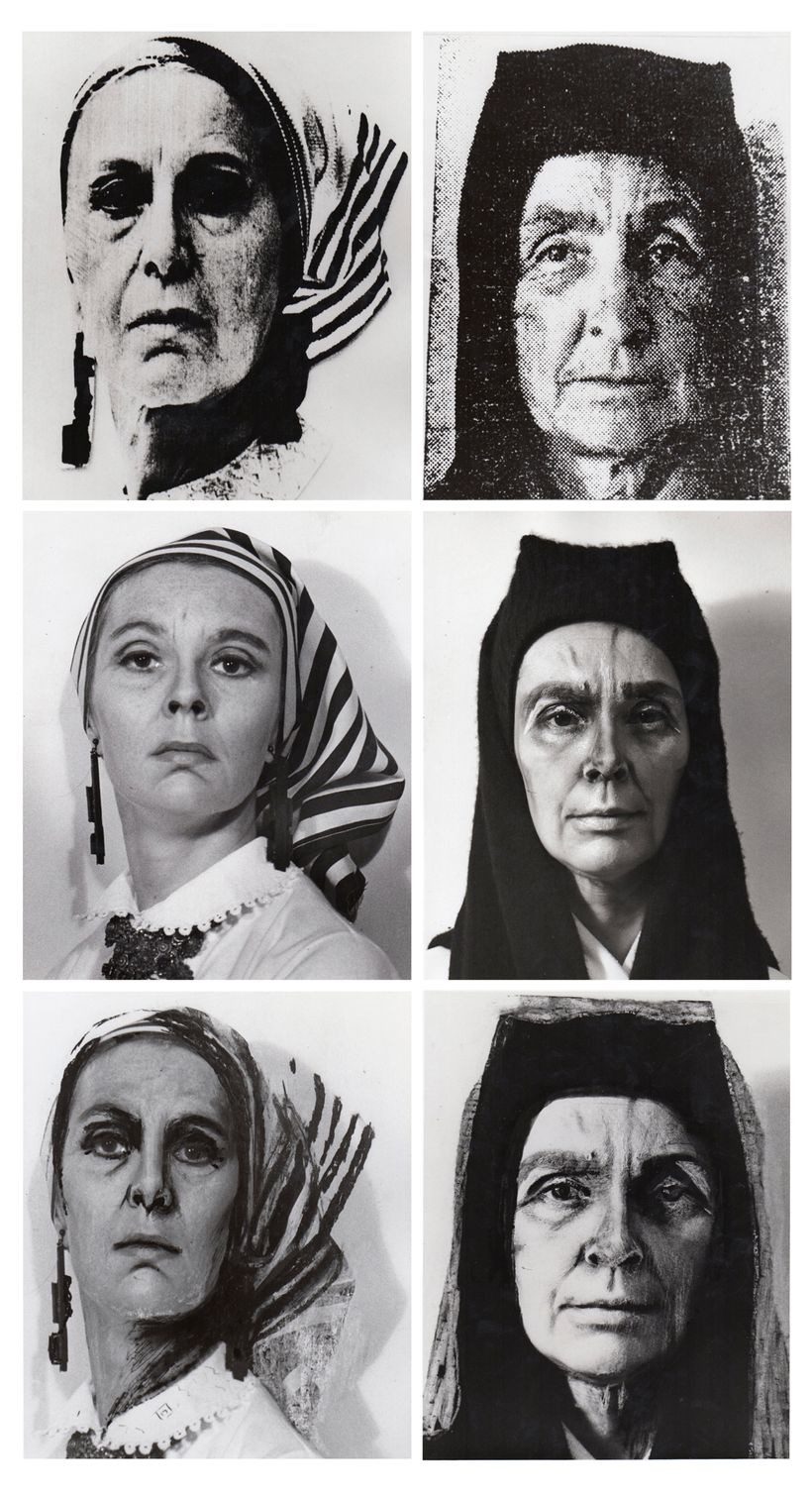 "<em>O'Kevelson</em>, 1973 30x16 inches, 6 photographs 8x10"" each Handwork with china marker on photographs"