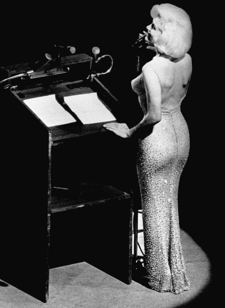 Actress Marilyn Monroe sings 'Happy Birthday' to President John F. Kennedy at Madison Square Garden, for his 45th birthday.