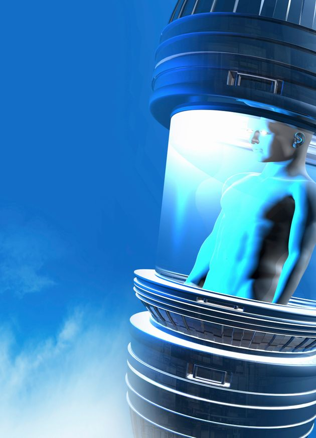 Conceptual illustration of a person in cryogenic