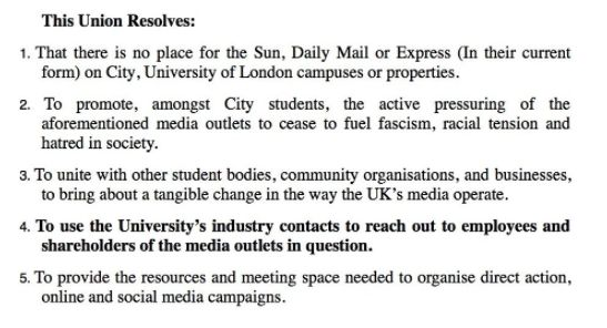 The union wants to see the university use its media contacts to pressure the tabloid