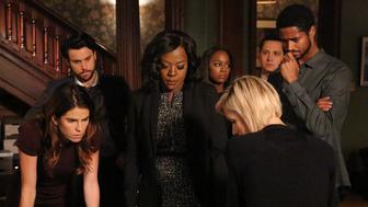 HOW TO GET AWAY WITH MURDER - 'Call It Mother's Intuition' - Annalise and her students take on a case defending siblings who have been charged with conspiracy to commit murder against their mother. Meanwhile, Frank's actions lead to a painful consequence, on 'How to Get Away with Murder,' THURSDAY, NOVEMBER 3 (10:00-11:00 p.m. EDT), on the ABC Television Network. (Mitch Haaseth/ABC via Getty Images) KARLA SOUZA, JACK FALAHEE, VIOLA DAVIS, AJA NAOMI KING, LIZA WEIL, MATT MCGORRY, ALFRED ENOCH