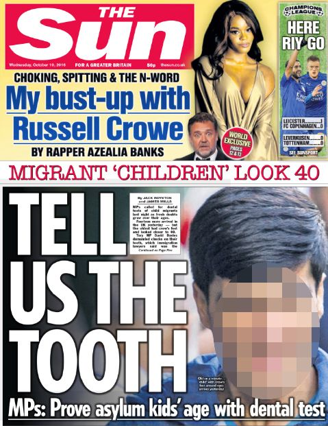The Sun recently accused child migrants of lying about their age in order to seek asylum in the