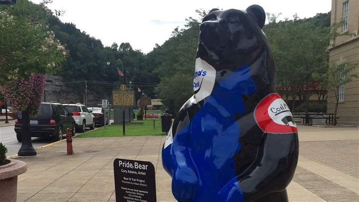 The coal industry's influence is hard to escape in eastern Kentucky. One of the bear statues in downtown Pikeville is decorat