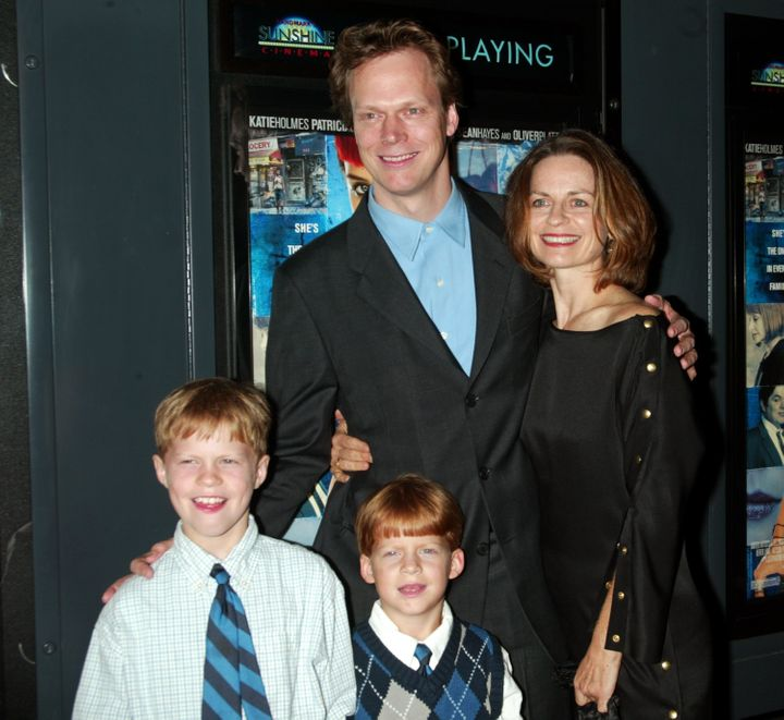 "Writer-director Peter Hedges with wife Susan Bruce, sons Simon (left) and Lucas at the ""Pieces of April"" premiere in 2003."