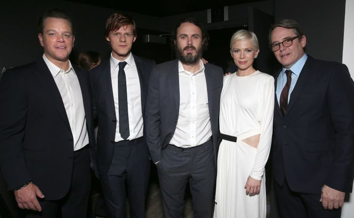 "Matt Damon, Lucas Hedges, Casey Affleck, Michelle Williams and Matthew Broderick attend the premiere of ""Manchester by the Se"