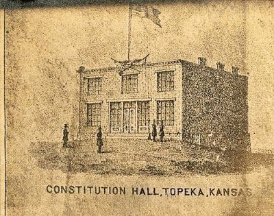 Constitution Hall in 1855 Topeka for Prohibiting Slavery