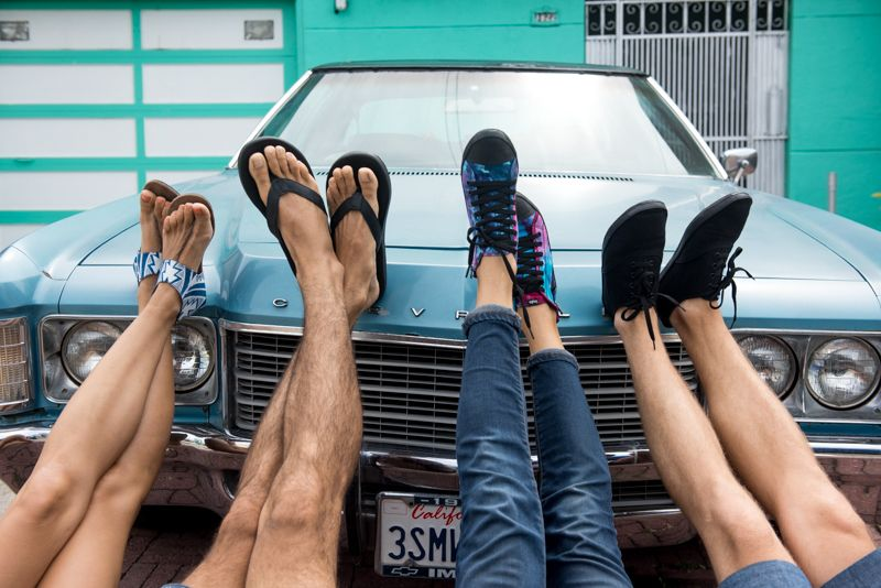 Repurposed tire soles and vegan uppers, in a variety of colors and styles.