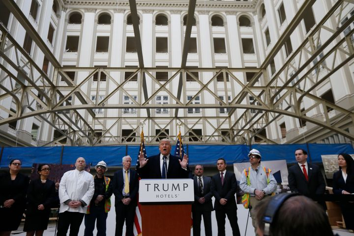 Donald Trump speaks at the Trump International Hotel in Washington D.C. during the 2016 presidential campaign.