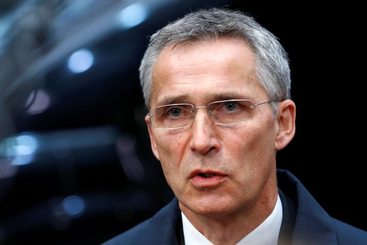 NATO Secretary-General Jens Stoltenberg briefs the media as he arrives at a European defence ministers meeting in Brussels, B