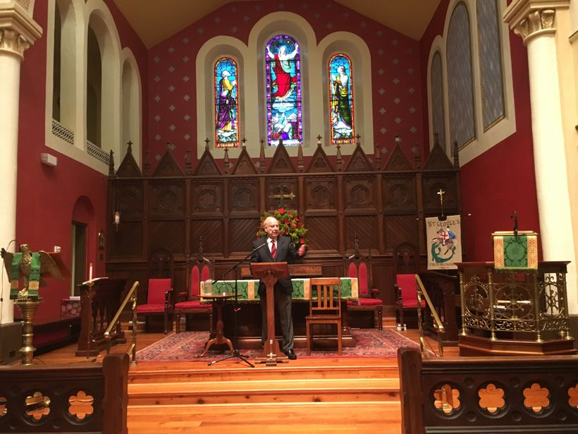 Ambassador Akbar Ahmed addresses a full house audience at St. George's Episcopal Church in Fredericksburg, Va. on November 13