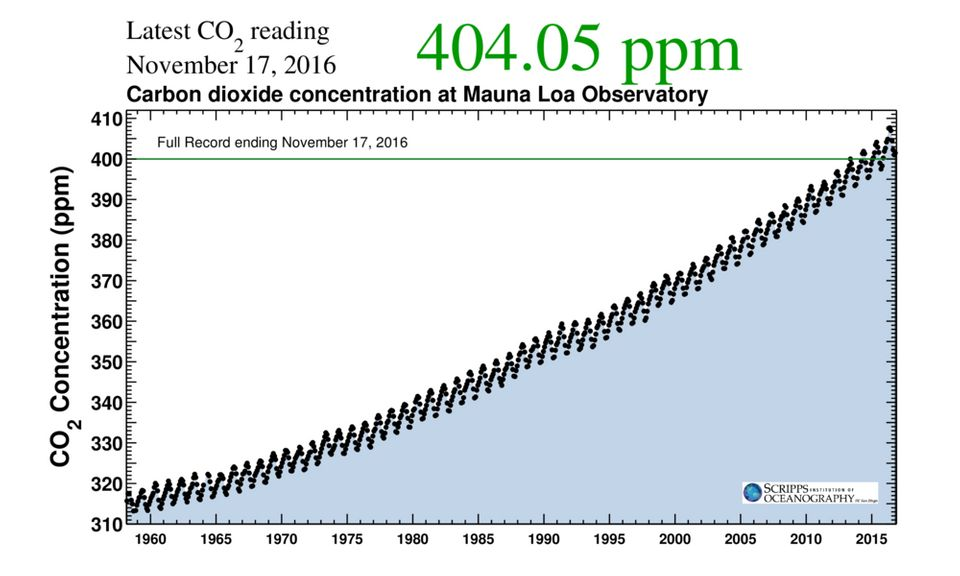 This graph shows the concentration of carbon dioxide in the atmosphere, as measured at Mauna Loa Observatory in Hawaii,