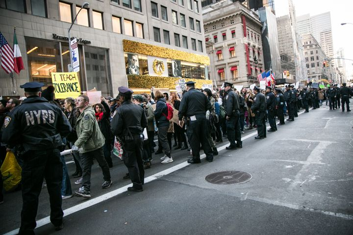 Thousands of anti-Donald Trump protesters, including many pro-immigrant groups, hold a demonstration in New York city along U