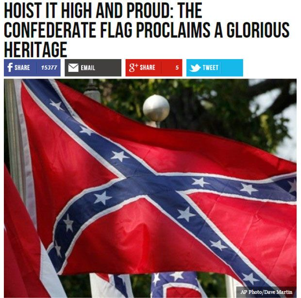 A Breitbart story from July 1, 2015 repeated the racist lie that the Civil War was not fought over slavery.