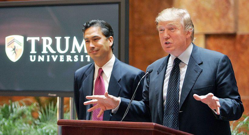 Trump announces fake university scam in New York City.