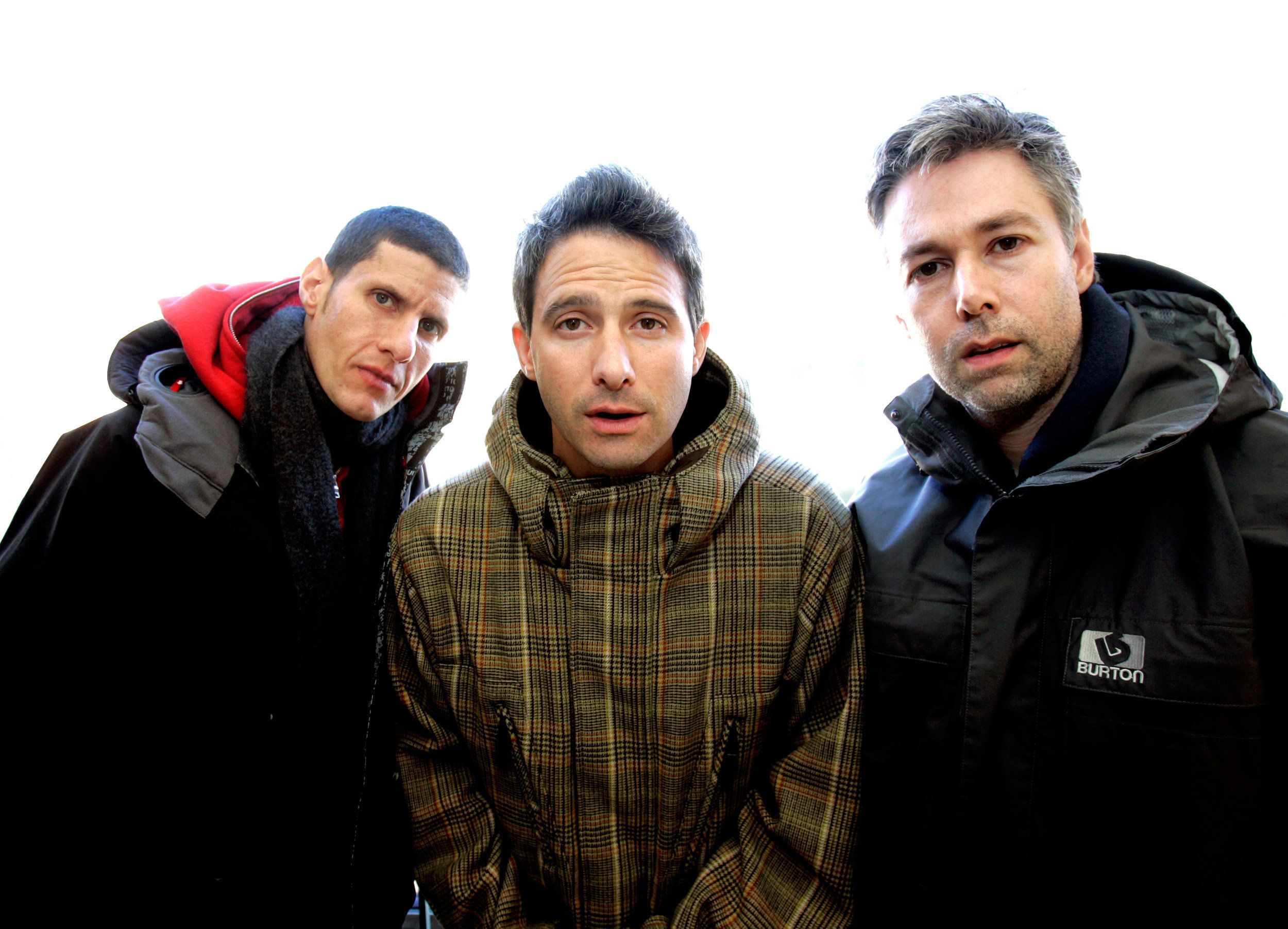 """The Beastie Boys (L-R) Mike Diamond, Adam Horowitz and Adam Yauch are photographed at the 2006 Sundance film festival in Park City, Utah, January 22, 2006. The Beastie Boys' documentary film """"Awesome: I Fuckin' Shot That"""" is screening at the festival. REUTERS/Mario Anzuoni"""