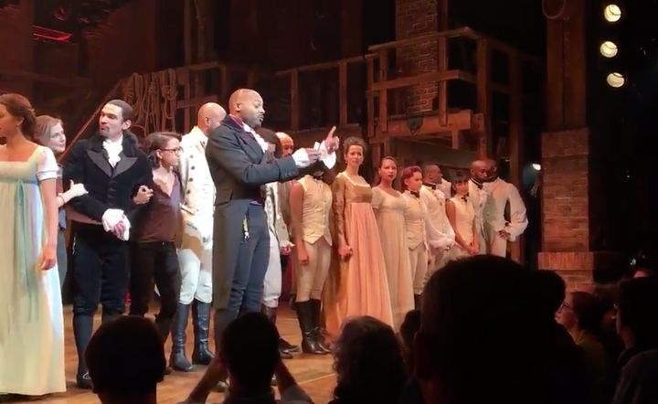 """Hamilton"" had a special curtain call for Vice President-elect Mike Pence."