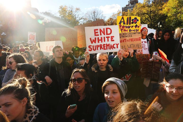 Hundreds of anti-Donald Trump protesters hold a demonstration in Washington Square Park in New York City.