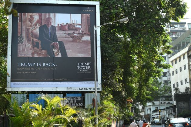 A billboard advertises sales of the luxury condos at Trump Tower Mumbai in India in