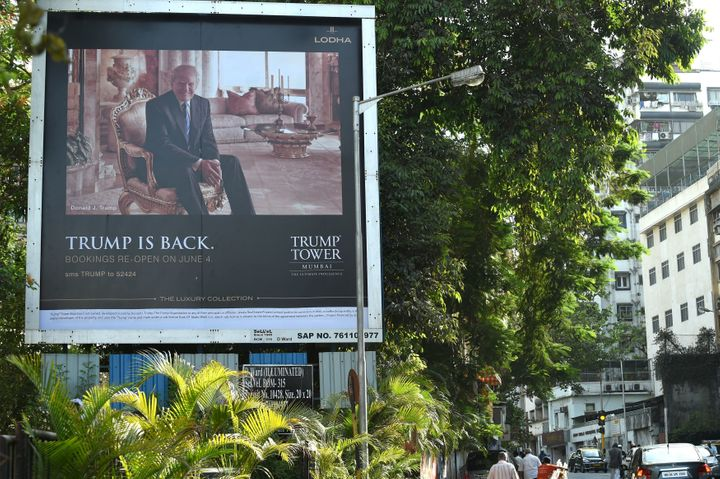 A billboard advertises sales of the luxury condos at Trump Tower Mumbai in India in June.