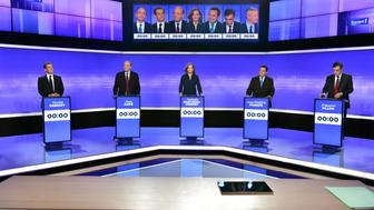 French politicians (From L-R) Nicolas Sarkozy, Alain Juppe, Nathalie Kosciusko-Morizet, Jean-Frederic Poisson, and Francois Fillon attend the final prime-time televised debate for the French center-right presidential primary in Paris, France, November 17, 2016.   REUTERS/Christphe Archambault/Pool