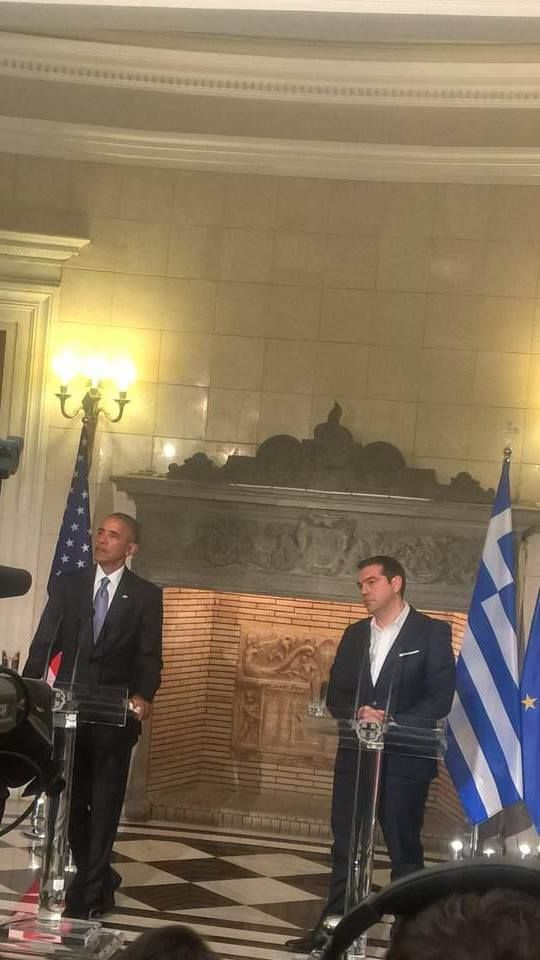 Barack Obama  in a joint news conference with Greek Prime Minister Alexis Tsipras in Athens