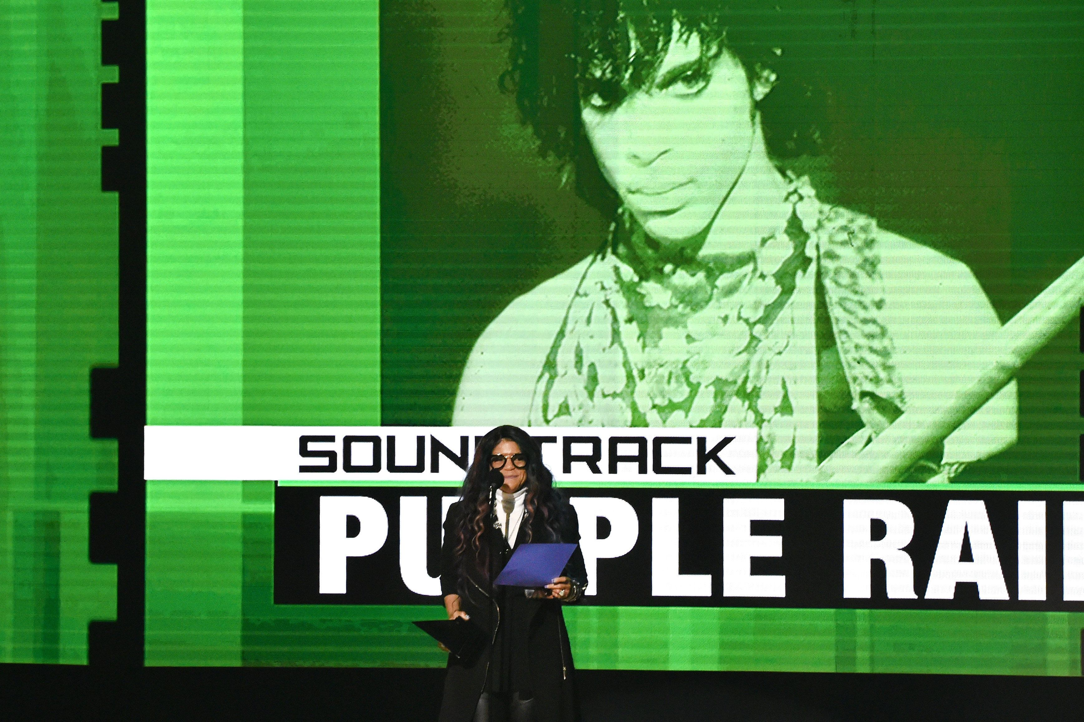 LOS ANGELES, CA - NOVEMBER 20:  Tyka Nelson, accepts the award for Favorite Soundtrack, for Purple Rain, on behalf of Prince onstage at the 2016 American Music Awards at Microsoft Theater on November 20, 2016 in Los Angeles, California.  (Photo by Lester Cohen/WireImage)