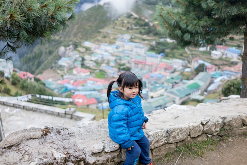 <em>Little Chow at Namche Bazaar, one of the staging villages for many many Everest Expeditions.</em>