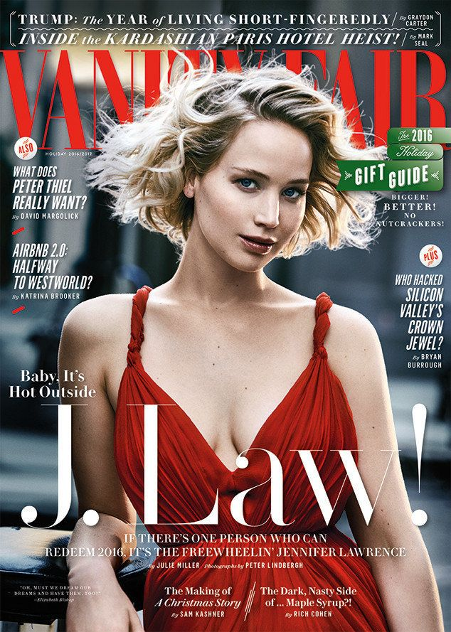Jennifer Lawrence on the latest cover of Vanity Fair, photographed by Peter Lindbergh.