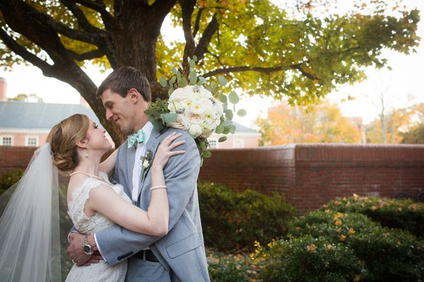 """""""Katharine and Tyler were married at St. Francis of Assisi with their reception at The Carolina Inn on a beautiful fall after"""