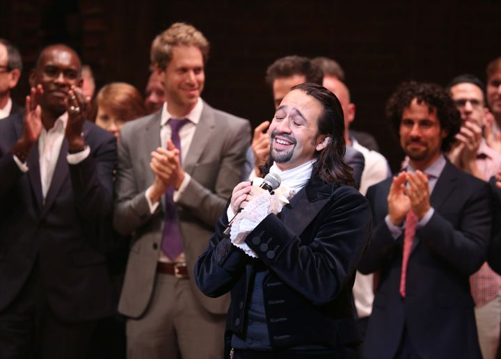"""Hamilton"" creator and former star Lin-Manuel Miranda at the Richard Rodgers Theater in August 2015. Miranda helped write&nbs"
