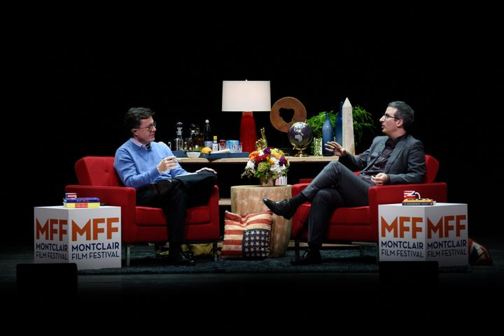 Stephen Colbert and John Oliver onstage at the Post-Election Evening to Benefit Montclair Film Festival on November 19, 2016