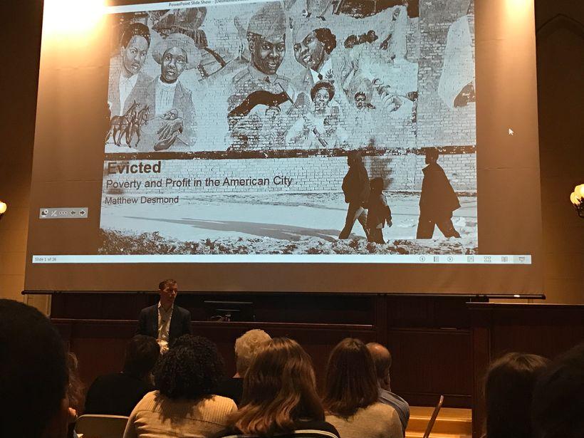 Matthew Desmond speaking at the University of Pennsylvania on November 14th, 2016