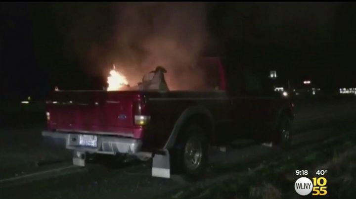 A Washington couple says a toy Tonka truck purchased for their grandson burst into flames inside their pickup truck.