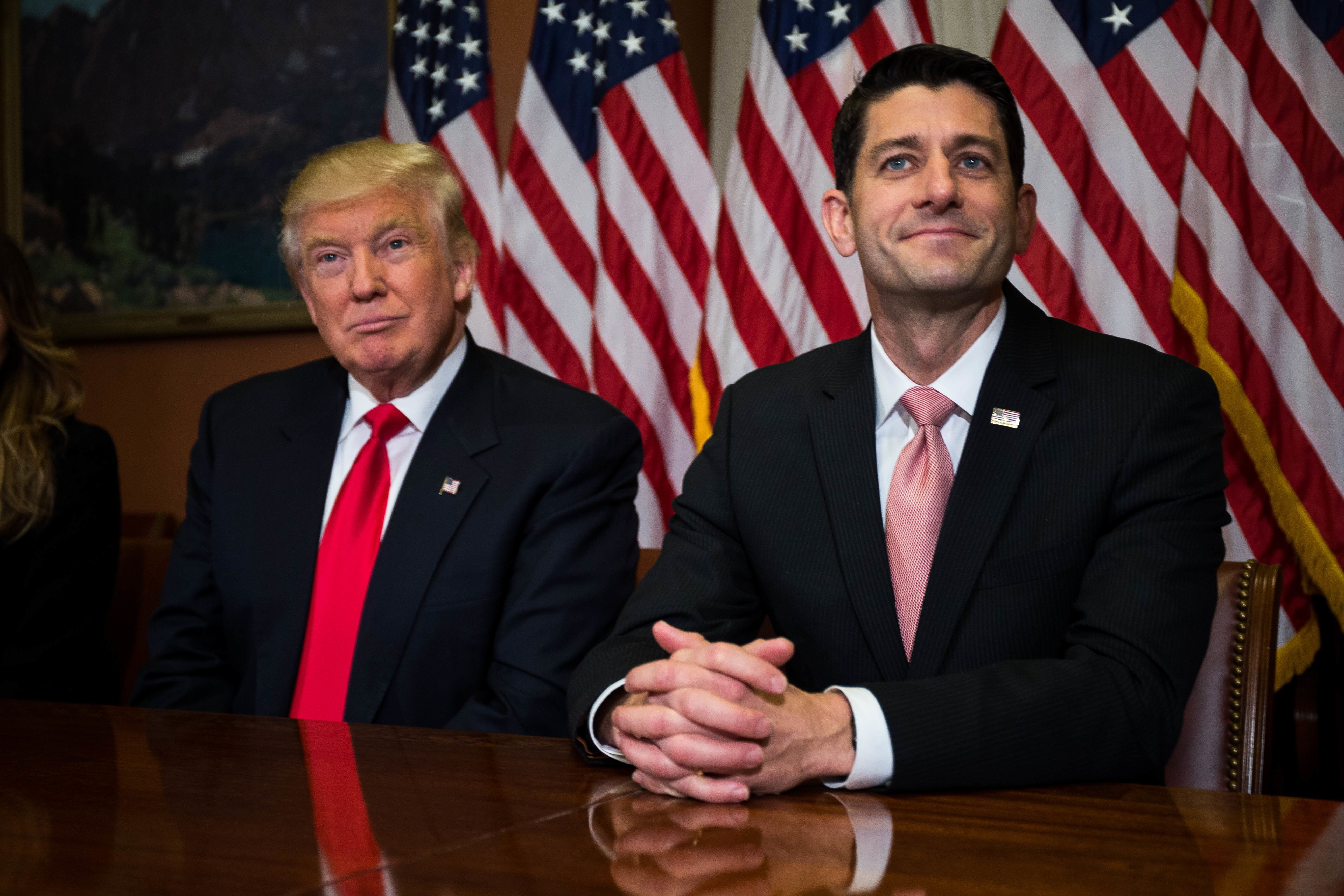 WASHINGTON, D.C. - NOVEMBER 10: President-elect Donald Trump meets with House Speaker Paul Ryan (R-WI) at the U.S. Capitol for a meeting November 10, 2016 in Washington, DC. Earlier in the day president-elect Trump met with U.S. President Barack Obama at the White House. (Photo by Zach Gibson/Getty Images)