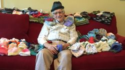 86-Year-Old Teaches Himself To Knit To Make Tiny Caps For