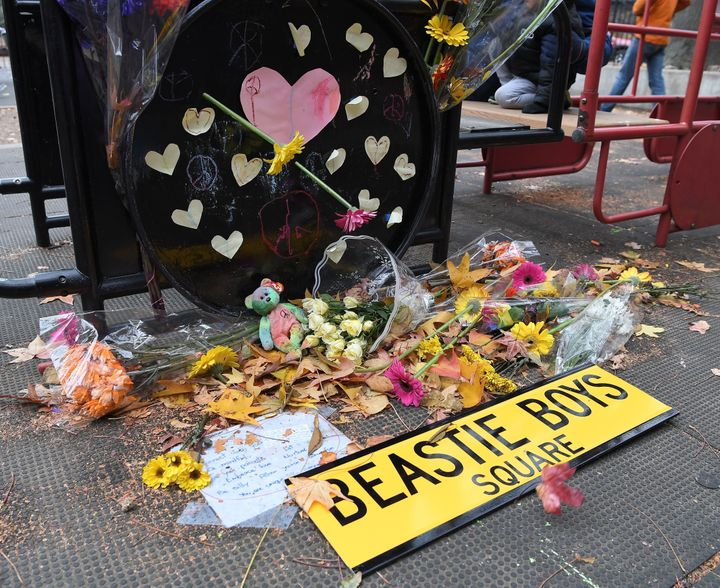 After someone defaced Adam Yauch Park with swastikas, people held an anti-hate rally and spread messages of love.